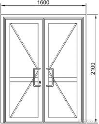 Дверь маятниковая двустворчатая