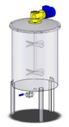 Емкость вертикальная нержавеющая стальная с пропеллерной мешалкой.