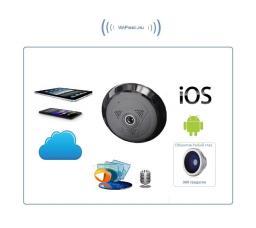Потолочная/настенная WiFi видеокамера панорамная с DVR (fish_ufo2_B), 960P HD New