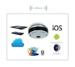Потолочная/настенная WiFi видеокамера панорамная с DVR (fish_ufo_S), 960P HD