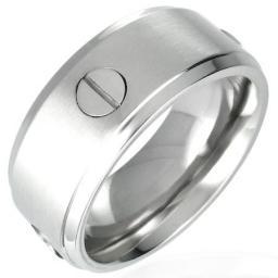 Кольцо мужское из стали с винтами