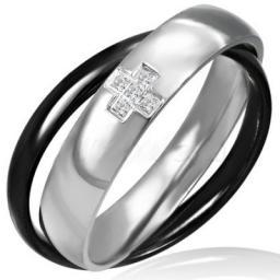 Кольцо из стали двойное с фианитами.