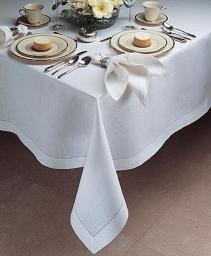 Белая льняная скатерть 120х140