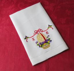 Белое льняное полотенце 45х80