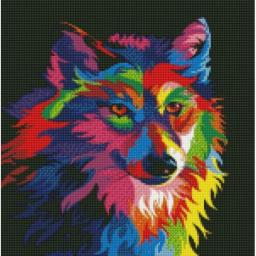 Алмазная мозаика Радужный волк,  30x40, полная выкладка, Цветной