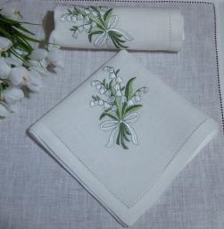 Льняные белые салфетки
