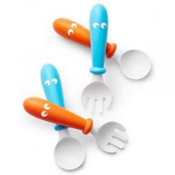 Комплект из 2-х ложек и вилок art. 0730, Цвет 82 / Оранжевый - Бирюзовый