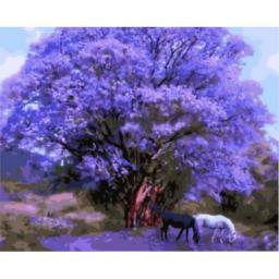 Живопись на холсте Две лошади под сиреневым деревом, 40x50, Paintboy