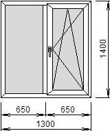 Окно 1300х1400, EXPROF 58мм/32мм, Roto