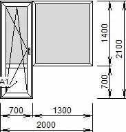 Окно 2000х2100, EXPROF 58мм/24мм, Roto