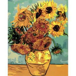 Раскраска Ваза с двенадцатью подсолнухами. Ван Гог., 40x50, Menglei