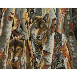 Ткань для вышивания бисером Волки в лесу, 60х45, Конек
