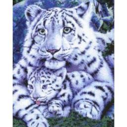 Алмазная мозаика Семья бенгальских тигров, полная выкладка, 40x50, Цветной