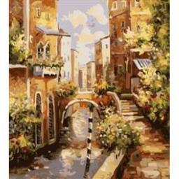 Раскраска Живописная улочка с каналом, 40x50