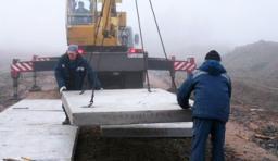 Устройство покрытия из новых дорожных плит ПАГ-14 6х2 (аэродромных)