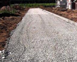 Устройство основания дорог из песка и щебня