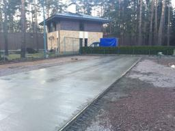 Устройство бетонного основания с армированием дороги