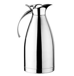 ZC-DA-C Нержавеющая сталь Thermal Coffee Carafe, двухслойная вакуумная изоляционная решетка с верхней кнопкой, качественная тепловая кувшин, диспенсер для напитков, 1500 мл ect.2-liter