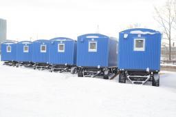 Вагон-дом вагончик повышенной комфортности для проживания шести человек с душевой и санузлом на шасси тракторного прицепа