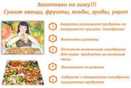Электрическая инфракрасная сушилка Самобранка дегидратор 50х50 см. для сушки овощей, фруктов, грибов и ягод
