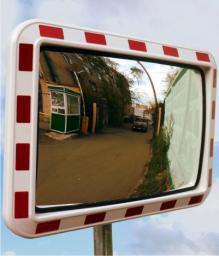 Зеркало обзорное, сферическое дорожное прямоугольное со световозвращающей окантовкой 400*600