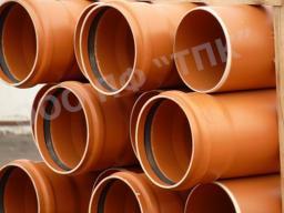 Труба для канализации ПВХ д 200 * 4.9, длина 4 метра в отрезках