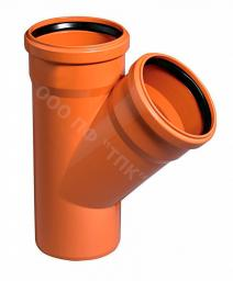 Тройник пластиковый канализационный 400*110*45гр.