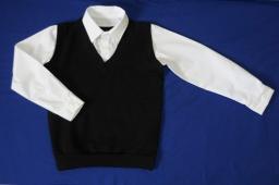 Сорочка с имитацией жилета 2 в 1 белая+черный жилет, р-р 60-76