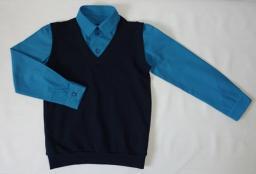 Сорочка с имитацией жилета 2 в 1 бюриза+черный жилет, р-р 60-76