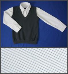 Сорочка с имитацией жилета 2 в 1 клетка+серый жилет, р-р 60-76