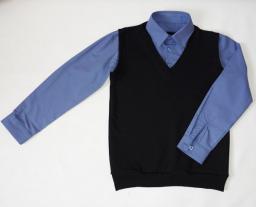 Сорочка с имитацией жилета 2 в 1 полоска синий+черный жилет, р-р 60-76
