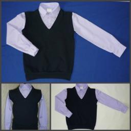 Сорочка с имитацией жилета 2 в 1 сирень+т.серый жилет, р-р 60-76