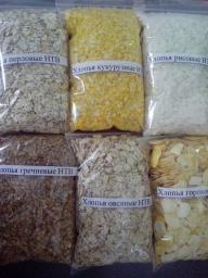 Хлопья кукурузные, соевые, рисовые, гречневые, овсяные, пшеничные, ржаные, перловые, гороховые