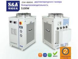 Оптоволоконный лазерный резак 1000Вт охлаждается двухтемпературным и двухнасосным чиллером S&A CW-6200AT