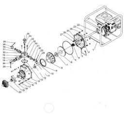Крышка выпуска мотопомпы Sturm BP8770 (рис.28)