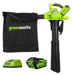 Воздуходувка - пылесос аккумуляторная GreenWorks GD40BV 1хАКБ 4 А.ч и ЗУ