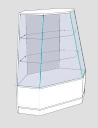 Угловой наклонный прилавок-витрина