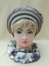 Берет Лора,трикотаж, цвет серый