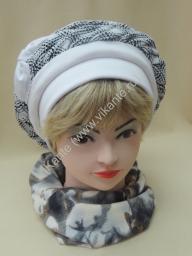 Берет Лора, трикотаж, цвет белый, полоса с рябью