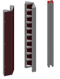 Щит угловой внутренний опалубки стальной 0.3 х 0.3 x 3.0 м