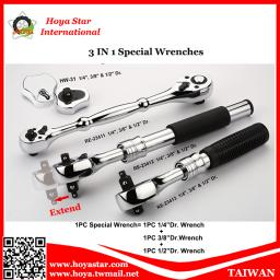Taiwan Made 3 in 1 Special Multi-Function Ratchet Combination Socket Bit Wrench Spanner
