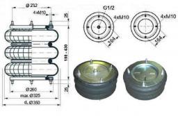 Пневморессора 3-х секционная 20 тн тип 305-100-430-3ХС-232 для автобусов, грузовиков и для пневмодомкрата; H min=100mm; H max=430mm