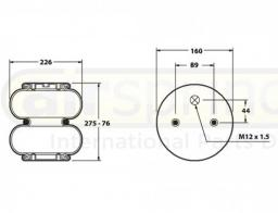 Пневморессора 2-х секционная в сборе тип 226-76-275-2Х-160-89 H min=76mm; H max=275mm