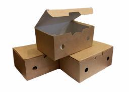 Упаковка картонная для наггетсов и куриных крылышек из крафт картона р-р S 115х75х45мм, серия