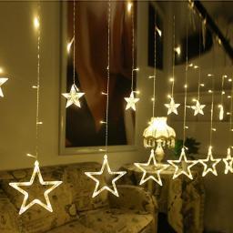 Светодиодная LED гирлянда Звезды 2,5 м. Золотое свечение