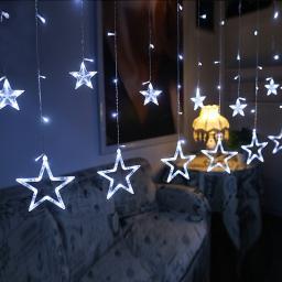 Светодиодная LED гирлянда Звезды 2,5 м. Серебряное свечение