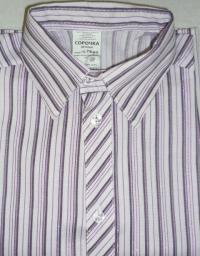 Сорочка Праздничная Полоска стрейч белый с фиолет короткий рукав