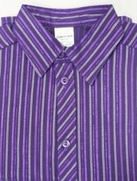 Сорочка Праздничная Полоска стрейч фиолет, короткий рукав