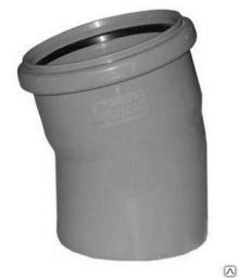 Канализационный отвод 110-15˚ пластиковый