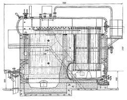 Рис. 1 Котел ДКВР-4/13 ГМ.  1 - горелочное устройство, 2 - экранные трубы, 3 - верхний барабан, 4 - манометр, 5...